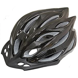 PEDALPRO CARBON EFFECT ADULT BICYCLE/BIKE/CYCLE HELMET WITH VISOR & LED SIZE ADJUSTER