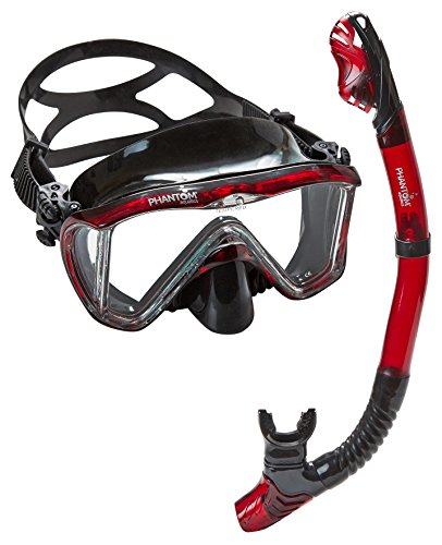 Phantom Aquatics Signature Master View Mask Dry Snorkel Set, Black/Red