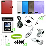 CrazyOnDigital Full 20 items Accessories Leather Case Charger Screen Protec ....