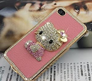 Hello Kitty Luxury Pink Leather Rhinestone Crystal Case Cover for Iphone 5 from HONG RI jewelry