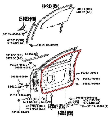 Left Genuine Hyundai 82231-2L000 Interior Door Belt Weatherstrip Front