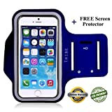 Tribe AB66 Water Resistant Sports Armband with Key Holder for iPhone 6 Plus, 6S Plus (5.5-Inch), Galaxy S6/S5, Note 4 Bundle with Screen Protector