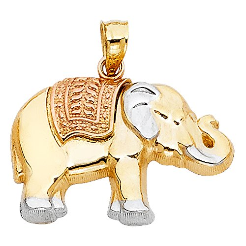 14k Tri Color Gold Elephant Pendant