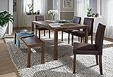 SAM-6tlg-Tischgruppe-Essgruppe-Tom-140-cm-nussbaumfarbig-Antik-Look-Sitzgruppe-bestehend-aus-1-x-Esstisch-Tom-4-x-Polsterstuhl-Billi-1-x-Sitzbank-Tom