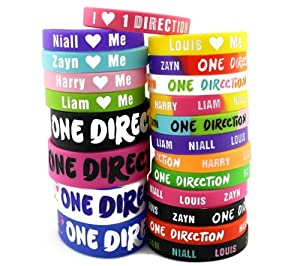 21pcs One Direction 1D Bracelet Lot Silicon Wristband w/ Special I Love 1D Gift Box