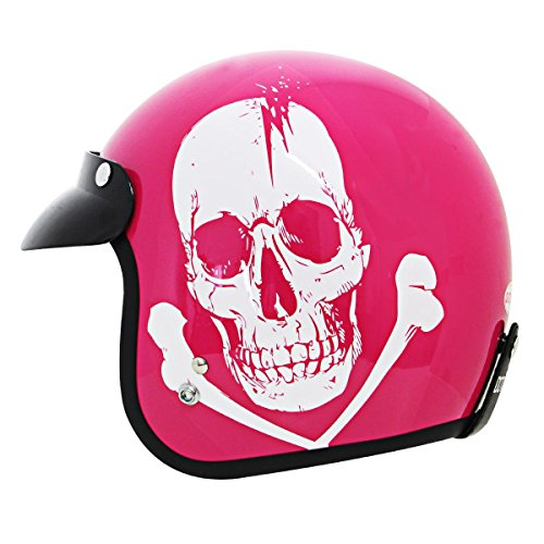 Outlaw Skull Pink Motorcycle Open Face Helmet - Small (Open Face Helmet Pink compare prices)