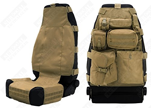 ZAPT Tactical Molle Front Seat Cover with 7 Pouches Universal Truck Seat Organizer Fits Most Car Black Tan Green Kryptek Typhon (Tan) (Gear Tactical Seat Covers compare prices)