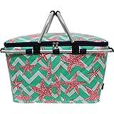 Chevron Seastar Print Insulated Picnic Basket Bag