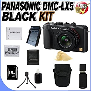 Panasonic Lumix DMC-LX5 10.1MP Digital Camera + 16GB SDHC Memory + Extended Life BCJ13 Battery + Ac/Dc Rapid Charger + Deluxe Case + USB Card Reader + Memory Card Wallet + Accessory Saver Bundle!