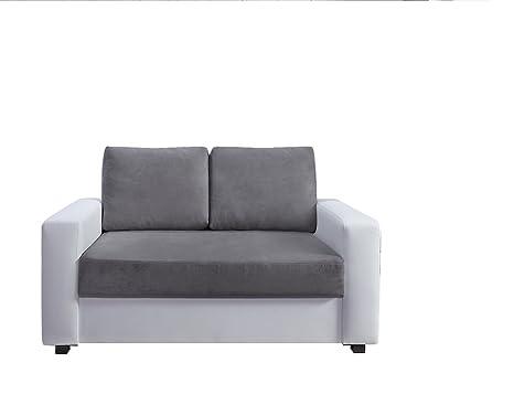 Relaxima Loft Canapé Fixe 2 Places Bois Blanc/Gris 143 x 86 x 85 cm