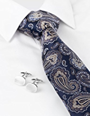 Boxed Autograph Pure Silk Tie & Cufflinks Set