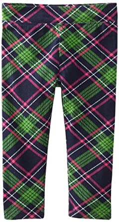 Hartstrings Little Girls' Toddler Printed Cotton Spandex Pant, Navy Plaid, 3T