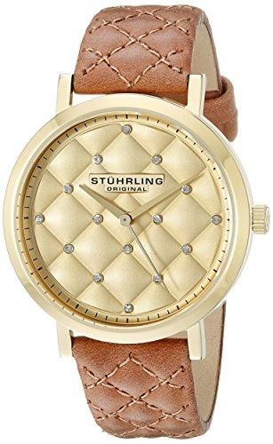Original Audrey Stuhrling para mujer reloj infantil de cuarzo con esfera analógica dorado y correa de piel color marrón 462,02