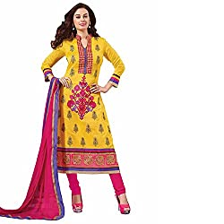 Ashika Women Cotton Dress Material (8554 _Yellow And Pink _4)