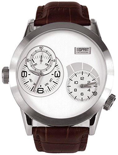 Esprit Collection  Zelos White - Reloj de cuarzo para hombre, con correa de cuero, color marrón