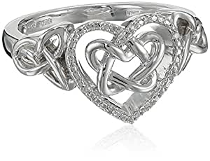 Sterling Silver Diamond Accent Celtic Heart Ring, Size 6