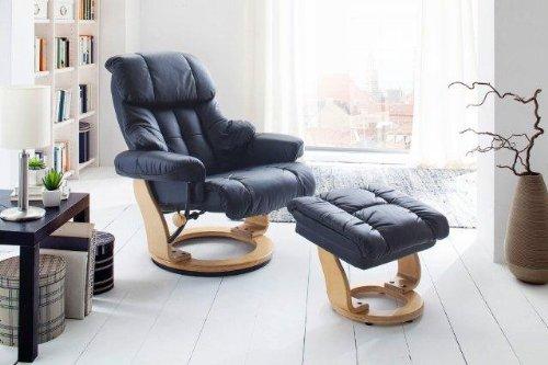 Dreams4Home Relaxsessel 'Fortuna l' mit Hocker, Leder,in schwarz, max. 150 kg, Fernsehesessel, Wohnzimmer, Sessel, Relaxer, TV-Sessel