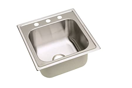 Elkay DPC12522100 20 Gauge Stainless Steel Single Bowl Top Mount Kitchen Sink, 25 x 22 x 10.25""