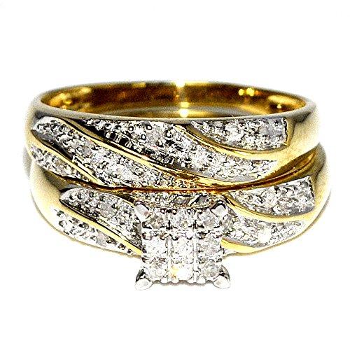 0-18ct-Princess-Cut-Style-Pave-Bridal-Wedding-Set-Engagement-Ring-Band-10k-Yellow-Gold