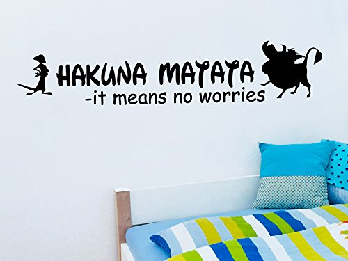Wall Decal Vinyl Sticker Decals Art Decor Design Sign Quote Hakuna Matata Timon Pumba Kids Lion King Bedroom Dorm Nursery (R1041) front-887466