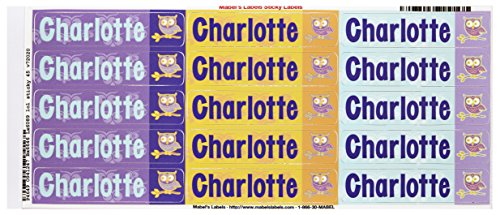 Mabel'S Labels 40845124 Peel And Stick Personalized Labels With The Name Charlotte And Owl Icon, 45-Count front-812431