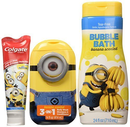 Minions 3 in 1 Shamppoo,conditioner and Body Wash, Minions Toothpaste and Bluble Bath Banana Scentea by Terlingua