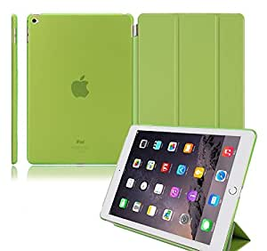 Ultra Thin Magnetic Smart Cover [Wake/Sleep Function] & Translucent Back Case Cover for Apple iPad Air 2 iPad 6 Smart Cover Flip Cover Case- GREEN