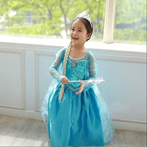 FE3 Disney Frozen Inspired Elsa Costume Dress Sky Blue 3T-14
