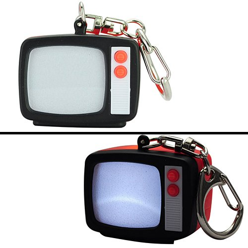 Retro Bright Led Tv Television W/ Static Sound Keyring Keychain Key Chain