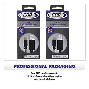 Cable RND certificado por Apple USB a conexión Lightning de 6 pies para iPhone 6, 6 Plus, 5, 5S, 5C, iPad Air, Mini y iPod Touch, cable para cargar y sincronizar