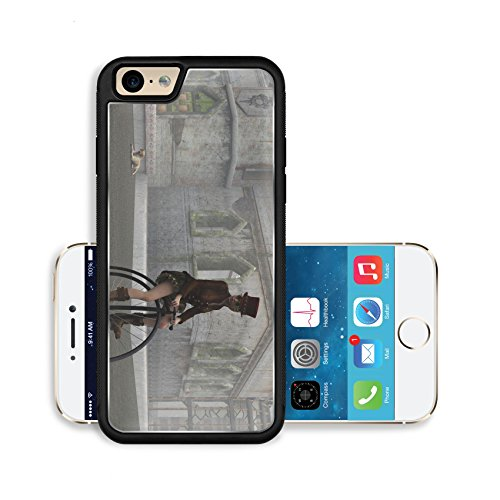 Liili Premium Apple iPhone 6 iPhone 6S Aluminum Snap Case Steampunk female in top hat and short skirt riding penny farthing bike on cobbles in fog with dilapidated building 28427430