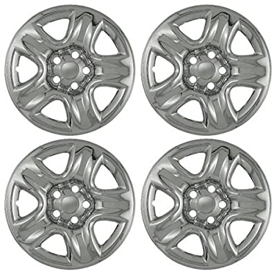 "Set of 4 16"" Chrome Wheel Skin Hubcaps: Suzuki Grand Vitara ('05 - 11), 2001-2011 Toyota Rav4, 2002-2011 Highlander 16x6 Inch 5 Lug Steel Rim: IMP/42X"