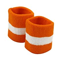Terry Stripe Wristband Pair-Orange White W15S27D