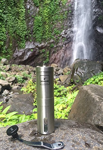 The Sovrano Int'l Coffee Grinder - Best Ceramic Conical Burr Coffee Bean Grinder, Stainless Steel - Aeropress Compatible - Travel Ready