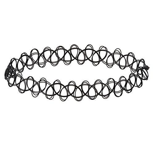 Accessorisingg Black Fake Tattoo Stretchable Choker Necklace for Women