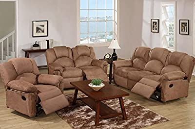 Poundex F6687/F6688/F6689 Saddle Microfiber Fabric Sofa Set With Recliners