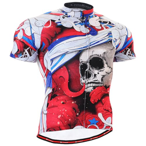 Buy Low Price Fixgear mens skull printed cycling jersey top gear long sleeve Red (B008RLMF2A)