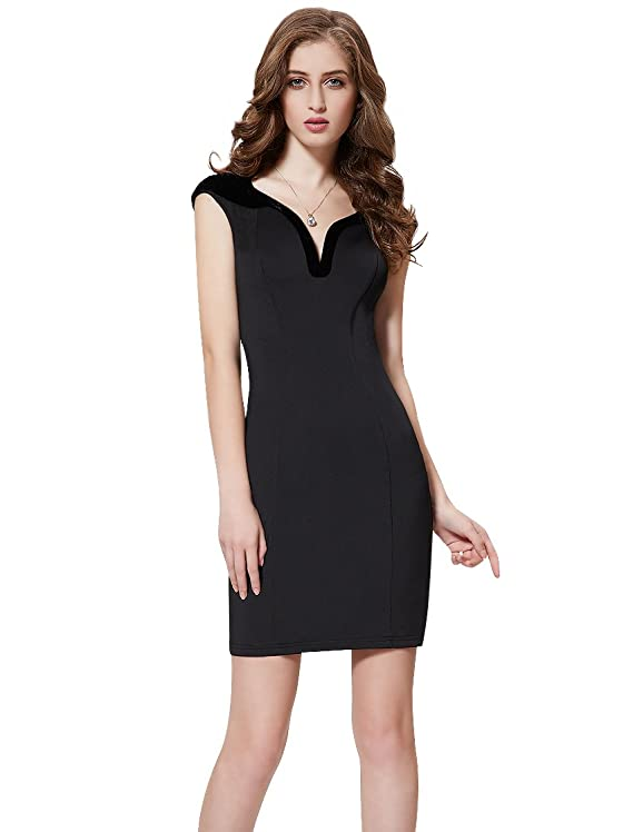 Ever Pretty Cap Sleeve Velour Accented Little Black Cocktail Party Dress 05173
