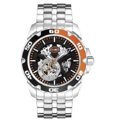 Harley-Davidson® Men's Spoke Self-Winding Automatic Watch. Luminous Hands. Open Aperture, Skeleton Dial and Back. Stainless Steel Bracelet. 78A112