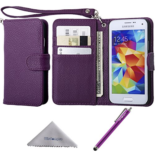 S5 Mini Case, Wisdompro Premium PU Leather Protective [Folio Flip Wallet] Case with Credit Card Holder/Slots and Wrist Lanyard for Samsung Galaxy S5 Mini G800F G800H G800H/DS (NOT Fit S5)- Purple (Samsung S5 Mini Case For Men compare prices)