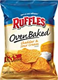 Baked Ruffles Ridged Potato Crisps, Cheddar & Sour Cream, 1.125-Ounce Bags (Pack of 64)