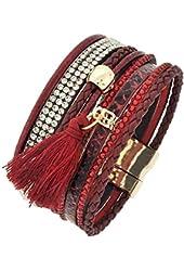 Burgandy Red Animal Print Leatherette Rhinestone Tassel Charm Bracelet Auralee & Co.