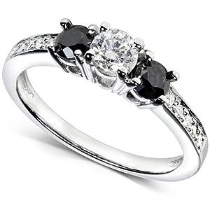 1ct Heat Treated Black & White Diamond 3 Stone Ring 14K White Gold
