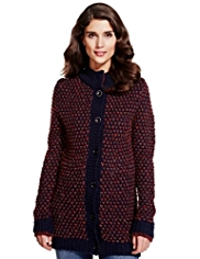 Per Una Funnel Neck Honeycomb Knitted Cardigan with Wool