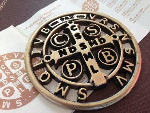 Large Brass Tone Saint St Benedict Pocket Medallion St Benedict Cross Medal