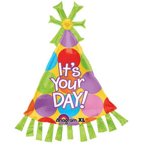 "Anagram 36"" Super Shape It's Your Birthday Hat Foil Mylar Balloon - 1"