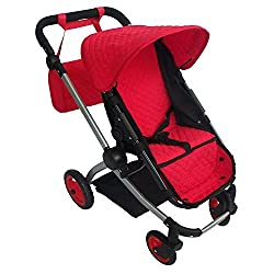 Modern Babyboo Doll Stroller Superior Quality Red Quilted Fabric New Luxury Collection Adjustable Height Free Diaper Bag