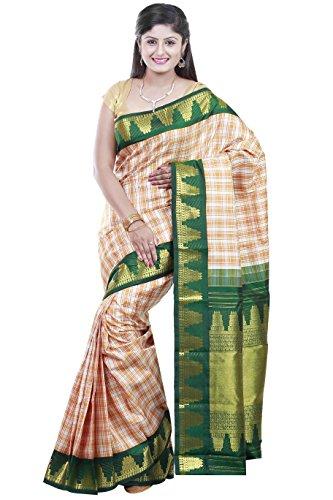 Kanchipuram Handloom silk sarees Checks with Doubleside contrast Jacquard Border Rich Pallu