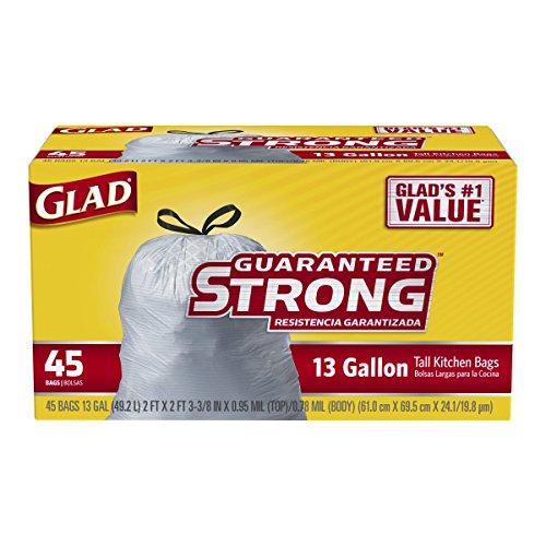 Glad Tall Kitchen Drawstring Trash Bags 13 Gallon 45 Count 012587783627