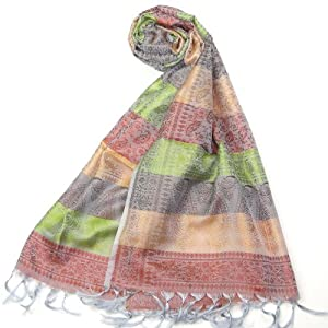 Womens Silk Scarf Pashmina - Lovarzi Silver & Yellow Golden Silk Scarves for women - Luxury wedding and evening party silky colourful scarves